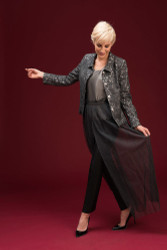 Algo Of Switzerland Lace jacket With Silk Shell and Pants and Sheer Skirt
