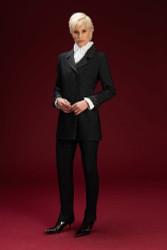 Algo Of Switzerland Cashmere Jacket and Pants With Ruffle Blouse