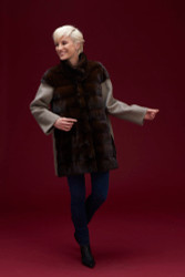 Algo Of Switzerland Mink and Wool Jacket With Cashmere Sweater and Mink Accents