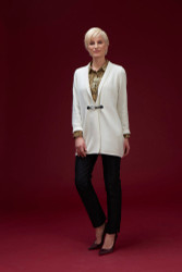 Algo Of Switzerland Cashmere Cardigan With Silk Shirt and Silk Pants