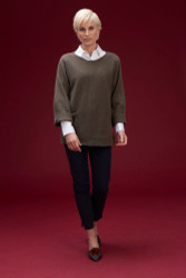 Algo Of Switzerland Cashmere Sweater With Cotton Blouse and Pull-on Pant