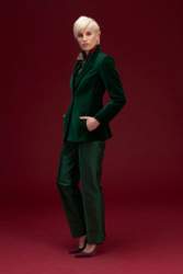 Algo Of Switzerland Velvet Jacket With Silk Blouse and Pants