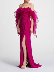 Marchesa Off-shoulder Ruffle Column Gown