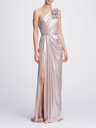 Marchesa One-Shoulder Draped Lamé Gown