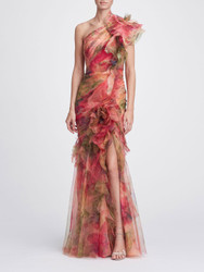 Marchesa One-Shoulder Printed Silk Organza Gown