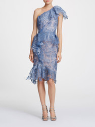 Marchesa One shoulder Foil Printed Cocktail