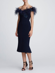 Marchesa Off Shoulder Feather Cocktail Dress