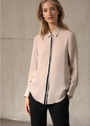 Georges Rech Bicolor Button Tab Silk Shirt