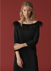 Georges Rech Feather Bardot Collar Dress