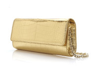 Judith Leiber Kate Gold Crocodile Clutch