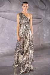 Naeem Khan Assymetric Leopard-Printed Silk Gown