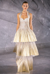 Naeem Khan Tiered Lame Halter Gown