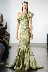Pamella Roland Floral Mikado Gown