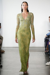 Pamella Roland Chartreuse Embroidered Gown