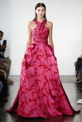 Pamella Roland Cerise Mikado Gown