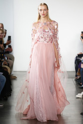 Pamella Roland Chiffon and Lace Gown