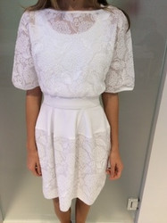 Blumarine White Floral Sheer Dress