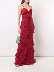 Marchesa Notte 3D Floral Fit To Flare Gown