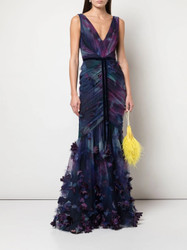 Marchesa Notte Fit To Flare 3D Floral Print Gown