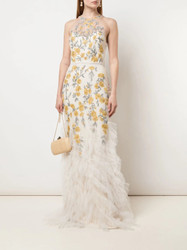 Marchesa Notte Fit to Flare Embroidered Beaded Gown