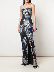 Marchesa Notte Strapless Sequin Embroidered Fitted Gown