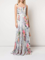 Marchesa Notte Floral Print Pleated Chiffon Gown