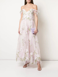 Marchesa Notte Cold Shoulder Embroidered Tulle Dress
