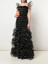 Marchesa Notte Sequin Dot Texture Gown