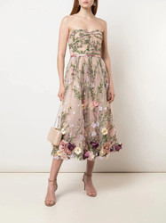 Marchesa Notte Strapless 3D Floral Embroidered Tea Length Dress