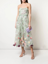 Marchesa Notte Strapless Floral Embroidered 3D Tea Length Dress