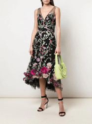 Marchesa Notte Floral Embroidered 3D Hi Low Cocktail Dress