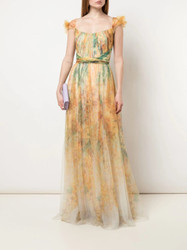Marchesa Notte Draped Bodice Floral Print Gown