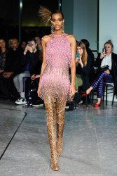 Naeem Khan Pink Beaded Fringe Dress