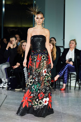 Naeem Khan Black Multi Embroidered Gown