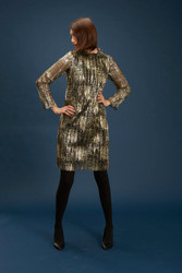 Algo Of Switzerland Gold and Black Knee-Length Dress