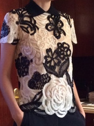 Naeem Khan Floral Black and White Blouse