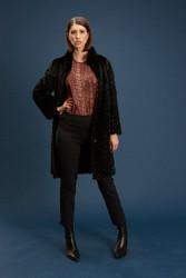 Algo Of Switzerland Fur Coat & Silk Snake Print Blouse