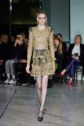 Naeem Khan Metallic Lace Dress