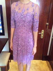 Naeem Khan Purple Sheer Patterned Dress