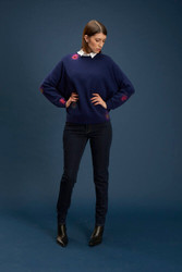 Algo Of Switzerland Blue Cashmere Sweater With Flower Detail