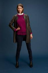 Algo Of Switzerland Deep Brown Leather Jacket & Magenta Cashmere Tassel Sweater