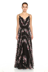 Marchesa Notte Sleeveless V-Neck Pleated Printed Chiffon Gown