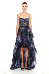 Marchesa Notte Strapless Sweetheart Neck Printed Organza Draped Hi-Lo Gown