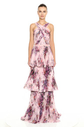 Marchesa Notte Halter Pleated Printed Chiffon 3-Tiered Gown