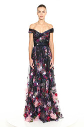 Marchesa Notte Off the Shoulder Printed Tulle Gown