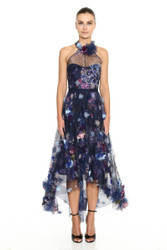 Marchesa Notte Halter Neck Printed Tulle Hi-Lo Tea-Length Gown