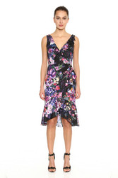 Marchesa Notte Sleeveless V-Neck Printed Crepe de Chine Draped Cocktail Dress