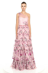 Marchesa Notte One Shoulder 5-Tiered Embroidered Glitter Tulle Ballgown