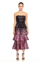 Marchesa Notte Strapless Sequin Ombre 4-Tiered Cocktail Dress