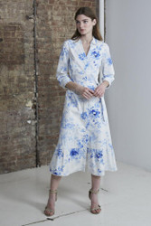 Marchesa Notte Printed Cuff Sleeve Collared Stretch Cotton Poplin Shirtdress